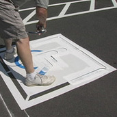 Handicap Stencil Painting Parking Lot